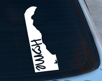 Delaware Decal - State Decal - Home Decal - DE Sticker - Love - Laptop - Macbook - Car Decal