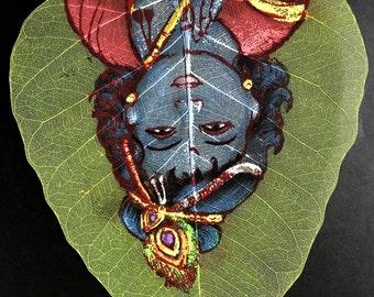 Leaf Painting; Oil Painting on Leaf, Indian, Krishna, Handmade, Indian Gods Painting