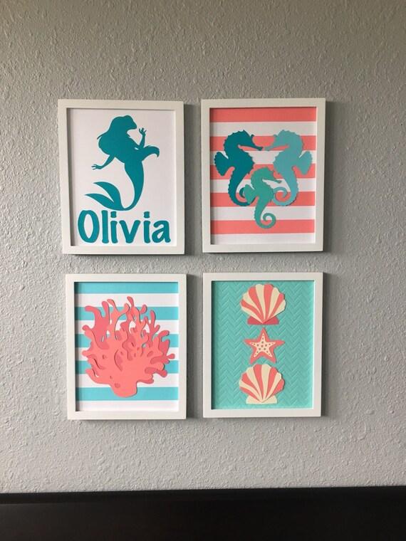 Under The Sea Mermaid Ocean Nursery Art Set Of By
