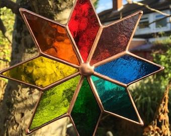 Multi Coloured Copper Art Star Stained Glass Suncatcher Handmade New  - designsinglass - CRhodesGlassArt