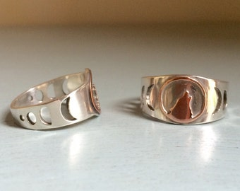 Wolf and Moon Phases Ring