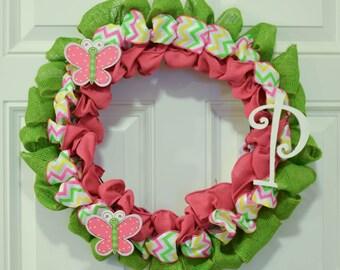 Butterfly Wreath, Spring Wreath, Spring Chevron Wreath, Outdoor Spring Wreath, Spring Decor, Pink Wreath, Burlap Wreath, Butterfly Decor