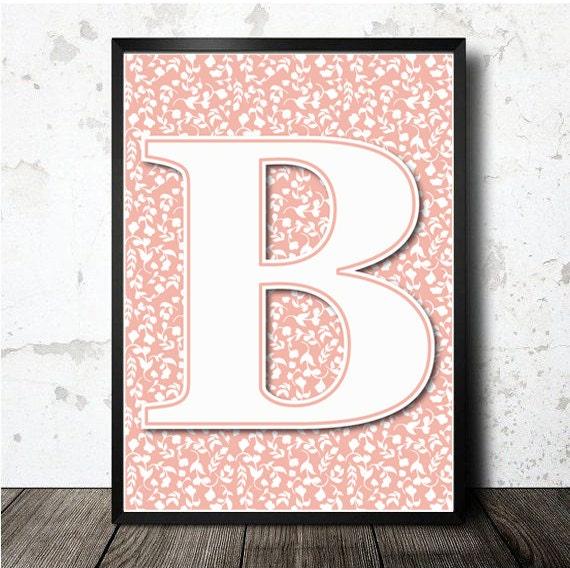 B Letter Print Poster. PDF Printable In A4 Size. Laminas