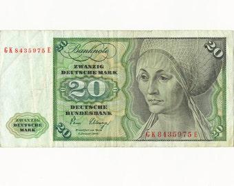 Vintage Currency, Paper Money, German Currency, Zwanzig Deutsche Mark, 1980, Circulated