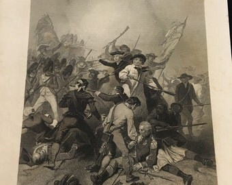 1868 Print - Battle of Bunker Hill, Original Antique Engraving Published by Johnson & Fry