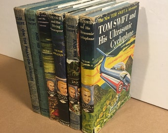 Vintage Tom Swift Jr. Book Set, Jetmarine - Ultrasonic Cycloplane & Others, Six Retro Books Original Dust Jackets
