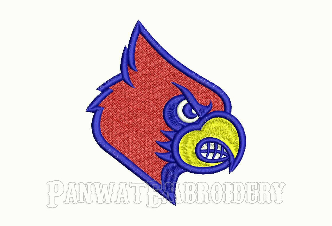 Size louisville cardinals logo embroidery designs machine