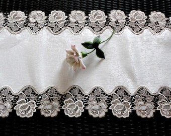 "34"" Rose Dresser Scarf Table Runner Nuetral Colors Doily"