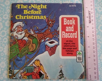 Vintage The Night Before Christmas Book and Record 1977
