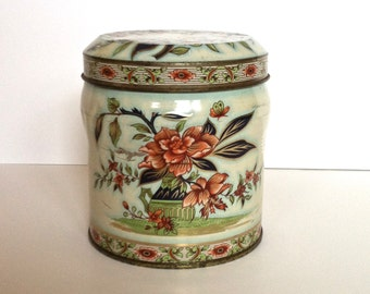 Vintage Daher Metal Ginger Jar Tin Canister With Lid Decorative Canister Metal Container With Lid Made in England Storage Kitchen Canister