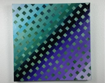 Original Large Abstract Painting. Checkered Green and Purple acrylic