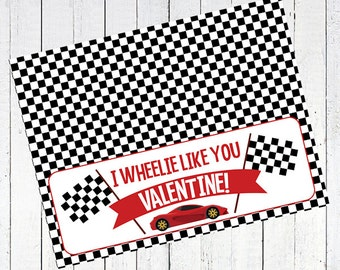 valentines day bag topper race car printable - Car Valentine's Day Bag Topper Printable