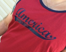 America -- F-Yeah! Men's 4th of July Tank Top: red and blue tank top