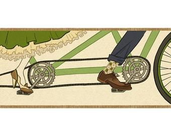Tandem Bicycle, Bike Prom, illustration art print