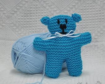 Mid Blue Knitted Teddy Bear 15cm