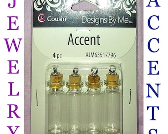1 Pack of Cousin Designs By Me Jewelry Accents, Small Jars with Cork Stoppers, 4 Pieces.