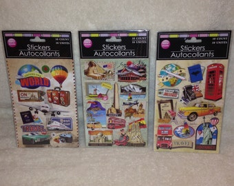 3 Packs of Handmade Cardstock Pop-up 3D Travel / Vacation / Destination Stickers, 30 Stickers Total.