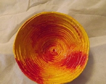 Recycled Newspaper Bowl- Red/Yellow