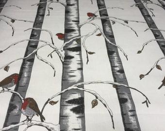 Tablecloth birch, birds, Scandinavian design