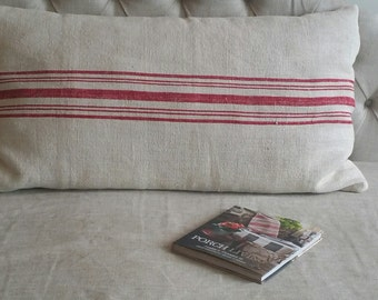 French Grain Sack Pillow with Red Striping