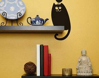 Cat and Bird Vinyl Sticker Decal