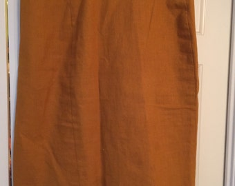 vintage high waist pencil skirt/ med/mustard color