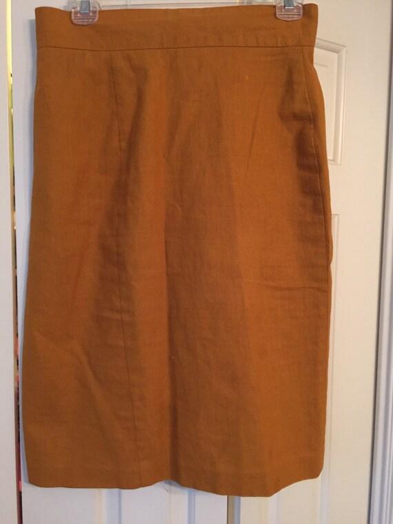 clearence vintage high waist pencil skirt med mustard color