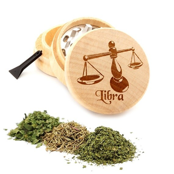 Libra Engraved Premium Natural Wooden Grinder Item # PW042716-9