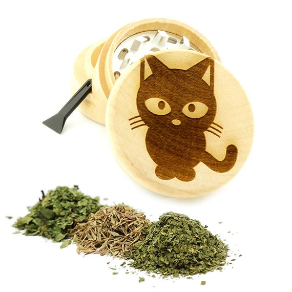 Cute Cat Engraved Premium Natural Wooden Grinder Item # PW61716-41