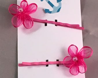 Pink flower hair pin