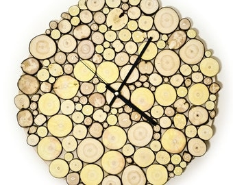 Little Woody - Wall Clock made of branch slices 38 cm