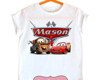 Cars shirt - Mater - Lightning McQueen birthday shirt