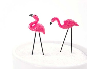 Miniature flamingos, fairy garden flamingos, tropical miniature landscape, pink flamingo, flamingo figurines