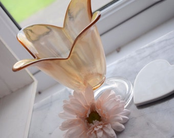 "Iridescent Bronzed vintage glass 6.5"" Tulip Vase or candle holder, clear footed base, wedding gift, table centre piece, table decoration"