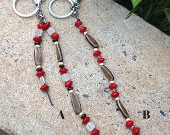 Handmade Red Sandalwood Seed & Poinciana Seed Keyring