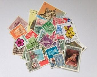 40 vintage postage stamps