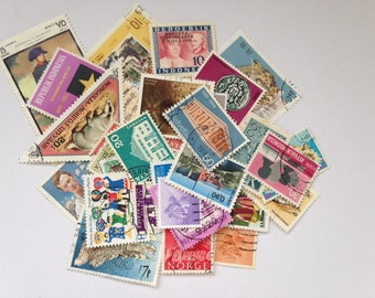 40 vintage and retro postage stamps