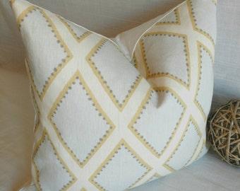 Contemporary pillow cover turquoise yellow from Sarah Richardson, linen Diamond pattern pillow, Kravet pillow cover, Cottage pillow decor