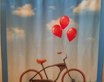 Bicycle and Balloons Shower Curtain FREE SHIPPING
