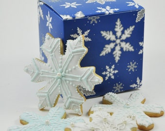 Winter Wonderland assorted Snowflake and frozen Ice crystals Christmas Cookie Set - 1 Dozen - cute decorated holiday iced sugar cookies