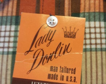 Lady Donlin sz 15/16 Tailored Flannel Shirt Womens Vintage NWT Deadstock
