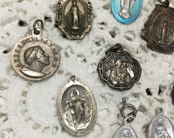 Vintage collection of rosary medallions,  rosary brooch