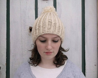 Discounted. Sale price. Cream colored winter hat. Ribbed winter hat. Twisted rib beanie. Boho. Boho hat