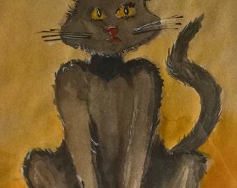 Cat, original art, original wall art