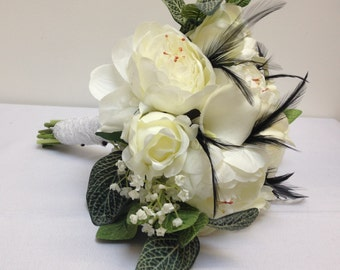 Rose and Peony Bouquet with feathers