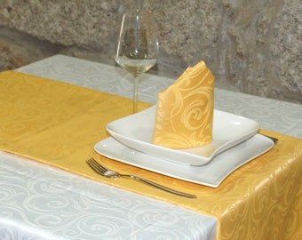 Luxury Gold Table Runner - Anti Stain Proof Resistant - Pack of 2 units - Ref. Lyon