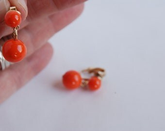 Free shipping - Vintage orange bauble earrings