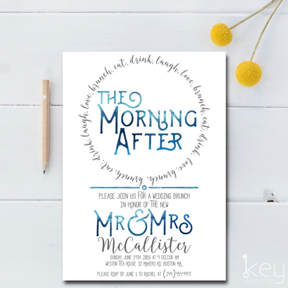post wedding brunch invitation printable the morning after