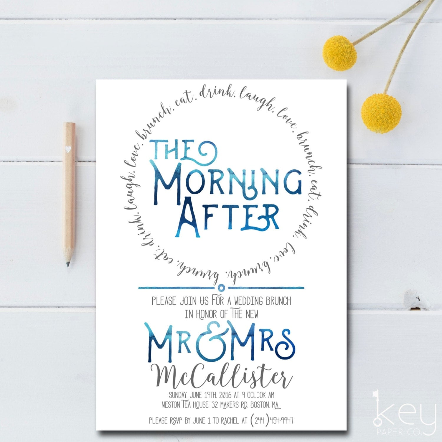 Post wedding brunch invitation printable the morning after for Wedding brunch invitations