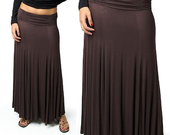 Solid Color Maxi Skirt - Brown - 2367N